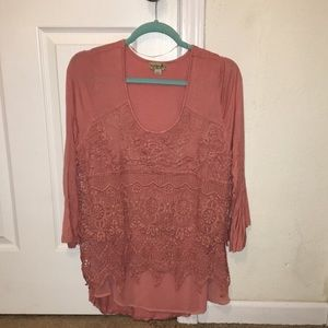 Tops - 3/4 sleeve lace front top